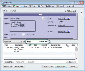use the items tab for job costing