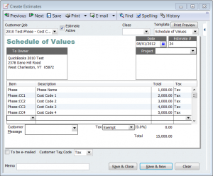 phase and cost codes on an estimate