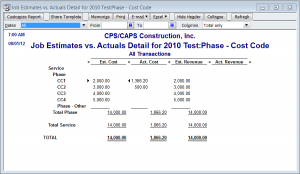 phase and cost codes in Actual vs. Estimate reports