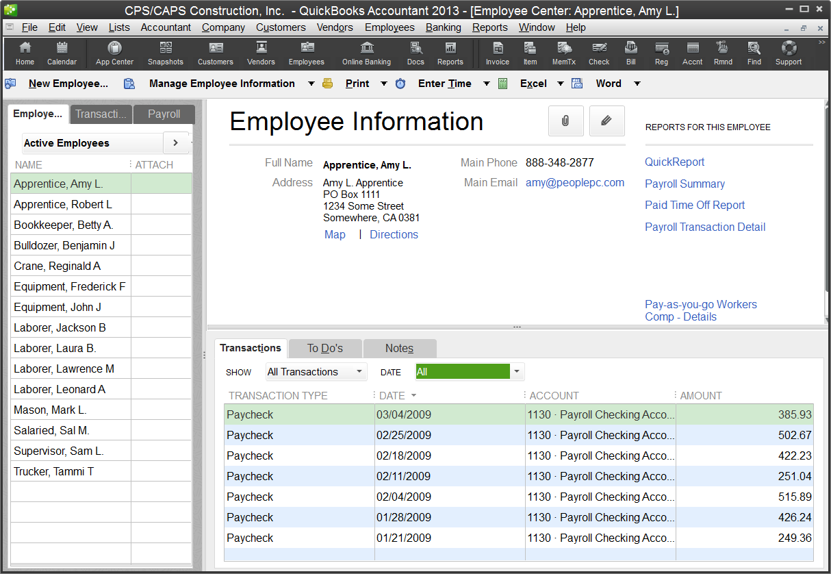 Employee Center QuickBooks 2013