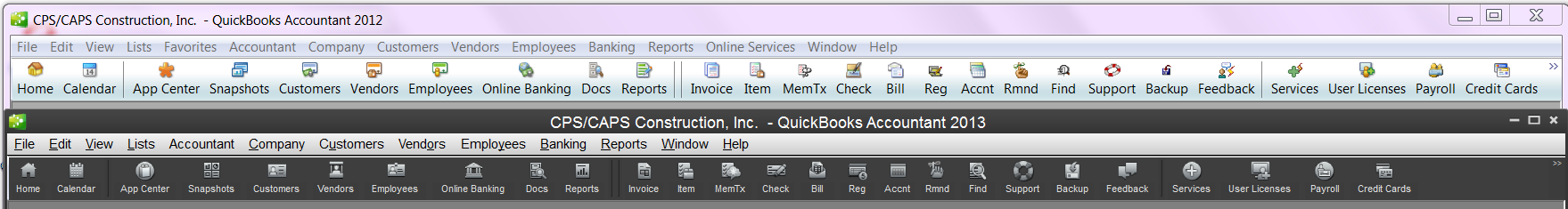 comparing the top icon bar of QuickBooks 2012 and 2013