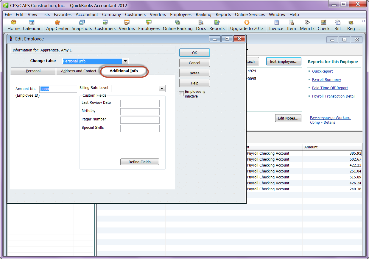 QuickBooks 2012 employee record - additional info tab