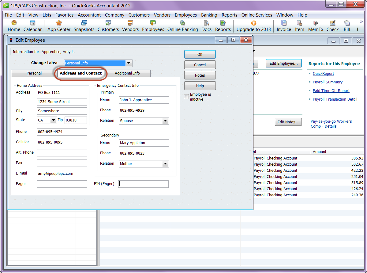 Employee & Contact info in QuickBooks 2012