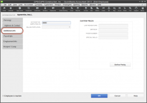 QuickBooks 2013 employee record - additional info tab