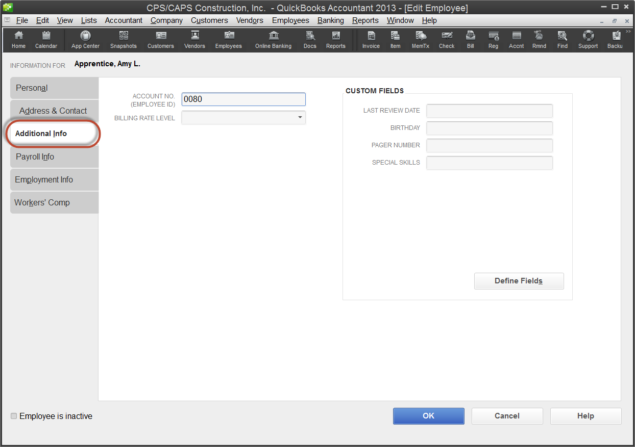QuickBooks 2013 employee record - additional info tab