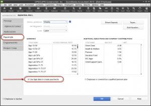 QuickBooks 2013 employee record - payroll info