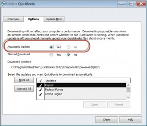 QuickBooks Automatic Update option - QuickBooks Premier Accountant 2012