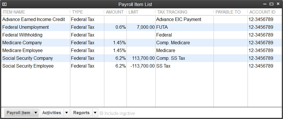 basic payroll tax items