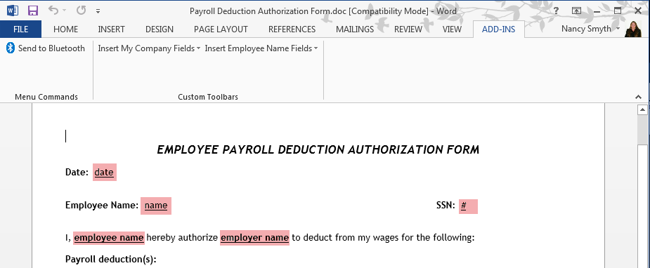 How To Create A Payroll Deduction Authorization Form Using The