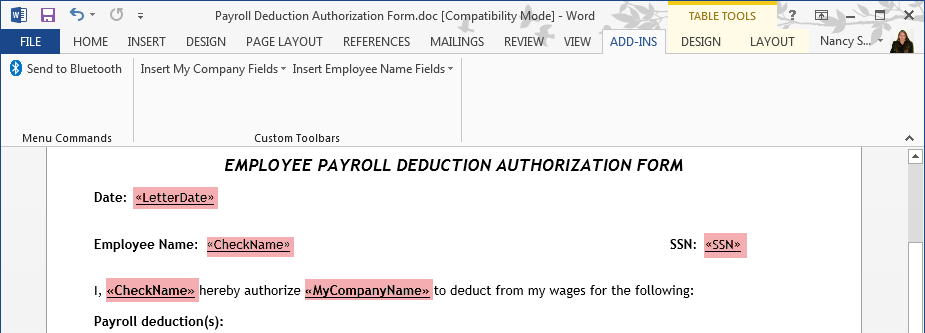 Create a Payroll Deduction Authorization Using QuickBooks Letters ...