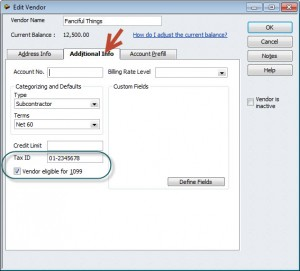 In QuickBooks 2012 - you'll enter 1099 information in the Additional Info tab.